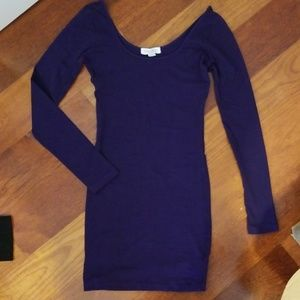 Dark purple bodycon jersey mini dress